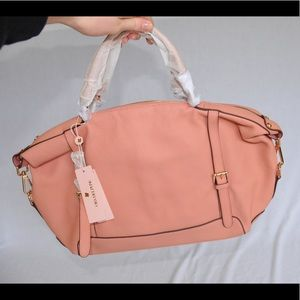 Ora Delphine Coral Blush Leather Satchel/handbag